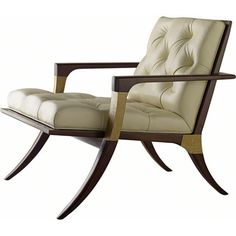 A timeless form based upon the centuries-old klismos design, the Athens Lounge Chair by Thomas Pheasant has a sweeping wood frame appointed with custom cast, ribbed Bronze collars and capitals. The tightly upholstered, pitched back and generous seat are accentuated with a deep button tufting.