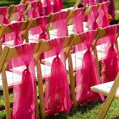 Fuchsia chair covers and table chair covers // Rental Equipment: BBJ Linen