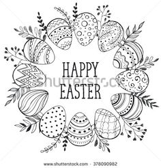 Easter wreath with easter eggs hand drawn black on white background. Decorative doodle frame from Easter eggs and floral elements. Easter eggs with ornaments in circle shape.