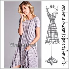 Tie Dye Easy Wear Dress Super popular this season black and grey tie die short sleeve dress. Featuring asymmetrical hem line and 2 front hidden pockets. Made of rayon and spandex. The perfect weekend wear dress. Size S/M, M/L, L/XL Threads & Trends Dresses