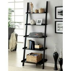 Snuggle this Furniture of America Merill Ladder Shelf into any corner to maximize space and create visual drama. This handsome ladder shelf. Black Ladder Shelf, Ladder Shelving Unit, Ladder Shelf Decor, Ladder Bookshelf, Wall Bookshelves, Bookshelf Design, Book Shelves, Bookshelf Ideas, Black Bookshelf