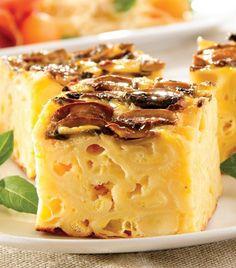 Pastel de queso con champiñones Food Hacks, Kids Meals, Queso, Cheesecake, Good Food, Brunch, Veggies, Pudding, Healthy Recipes