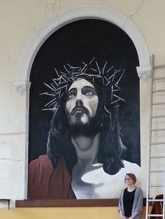 Jesus Crown of Thorns. Painted in a Baptist church in Peckham, London.
