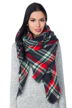 Square Plaid Blanket Scarf with Fringed Edge
