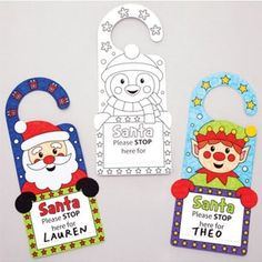 Buy Christmas Colour-in Door Hangers at Baker Ross. Christmas marks the spot - make sure Santa knows exactly where to stop! Add a little holiday cheer to your bedroom dec Christmas Crafts For Kids, Xmas Crafts, Christmas Colors, Crafts To Make, Christmas Cards, Arts And Crafts, Advent Calenders, Christmas Paintings, Pop Up Cards