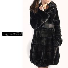 Black Sheared Mink Coat with Belt and Grooved Pattern