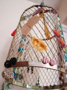 DIY paint roller grate jewelry chandelier -- could store or display crafts for sale