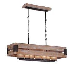 Eurofase Cesto Collection 7-Light Wood Rectangular Chandelier-26365-015 - The Home Depot