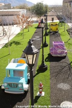 Street environment for Casas Church in Arizona. All cars and hydrants hand-sculpted by the Wacky World team.  Church Themed Environments