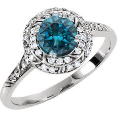 1.15CT Blue & White Diamond Vintage Halo Engagement Antique Engraved Ring 14 Karat White Gold