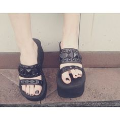 platform sandal w/ black metal stud detail ♥️ #DemoniaCult #Demonia…