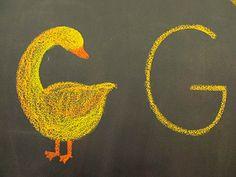 File:Letter G as goose.JPG learning letter shapes from stories told Blackboard Drawing, Chalkboard Drawings, Chalk Drawings, Chalkboard Lettering, Alphabet Cards, Alphabet Book, Rudolf Steiner, Alphabet Pictures, Homeschool Kindergarten