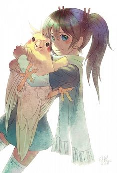 """illustration, kawaii cute bird and girl, """"Me and biggie as anime characters,"""" author unknown. Cute Animal Drawings, Bird Drawings, Cute Drawings, Funny Birds, Cute Birds, Animals And Pets, Funny Animals, Cute Animals, Parrot Drawing"""