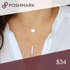 💋14K Gold💋Heart Bar Layered Necklace 20% PRICE DROP🎈Get in on the trendy layered look easily with this pre-layered necklace of simple heart & minimalist bar crafted from 14K Gold  MATERIAL CONTENT:  Gold 14K plated alloy metals.   Give as a gift. Or keep for yourself.  Because you deserve it! 😍💋👠🌹Also you can Bundle and💰SAVE 20% Wila Jewelry Necklaces