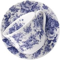 Fine Bone China Cups and Saucers in the gorgeous new Blue English Chintz pattern by Roy Kirkham 16 oz capacity 2 Sets / Imported from England