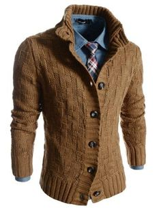 Man I love this cardigan, especially with the shirt - - Slim Fit Turtle Neck Knitted 7 Button Pattern Cardigan I love this look Fashion Moda, Look Fashion, Winter Fashion, Mens Fashion, Guy Fashion, Fashion Ideas, Fashion Outfits, Mode Masculine, Sharp Dressed Man