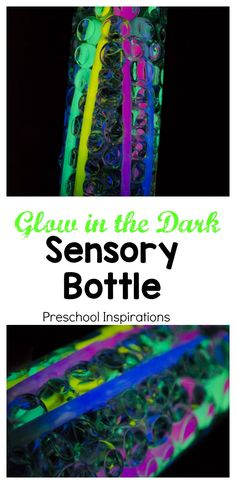 Super Simple Glow in the Dark Sensory Bottle I am hooked on these glow in the dark sensory bottles! Super easy to make with just two ingredients. Great for use in any preschool or kindergarten classroom - they'll be mesmerized!