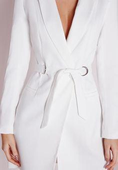 Missguided - D-Ring Blazer Dress White