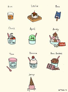 Parks and Rec characters as ice cream.