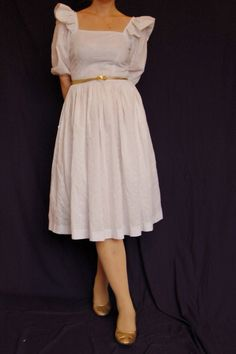 Vintage 80s white cotton dress with eyelet/lace by PosanVintage