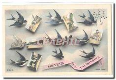 Valmondois Vintage Postcard Souvenir of Valmondois (swallows)
