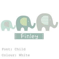 Elephant Name Fabric Wall Stickers - wall stickers