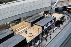 BoxPark Pop-up mall in shipping containers, London