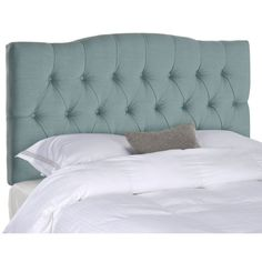 Dress up your guest room or master suite with this beautiful Axel queen-size headboard from Safavieh. With posh upholstery in a soft sky blue, this gorgeous headboard features gentle curves and deep button-tufting for a glamorous vintage look.