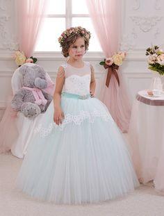 Minze Elfenbein Spitze Tüll Blumenmädchen Kleid - Geburtstag Hochzeitsfest Ferien Brautjungfern Minze Elfenbein Spitze Tüll Kleid
