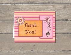 Digital download Thank You card from Etsy - 'A Higher Calling'.  Pink and Orange, has a matching invitation also!  $3.99