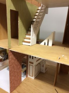 Beacon hill dollhouse staircase construction.... Wallpaper first!!