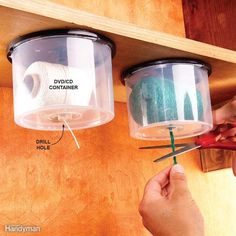 String Dispensers Here's a great way to reuse empty CD/DVD containers. Drill a hole in the top for the string to slide through, then screw the lid under a shelf and snap on the string-loaded container. Pull down and snip off the desired length and never worry that your ball of string will roll away across the floor dragging its tail behind it!