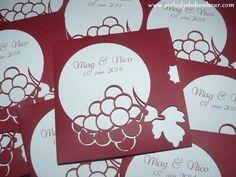 Faire part mariage pochette thème vin en bordeaux et blanc