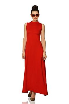 Miss Chase Women's Cotton A-Line Dress Womens Western Wear Dresses, Maxi Dress With Slit, High Neck Dress, Dressed To Kill, Long Bridesmaid Dresses, Shades Of Red, Beautiful Dresses, Dresses For Work, Stylish