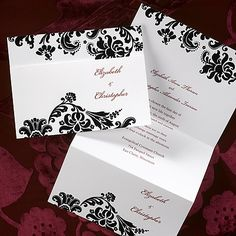 Damask Trifold - Invitation...This bright white tri-fold invitation has a damask design at the top and bottom of the card.