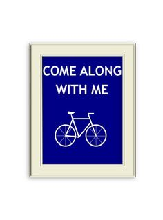 Come Along with Me- Navy Blue Bicycle Art Print, Lovely wedding gift or Home Decor