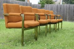 Milo Baughman Thayer Coggin Set of 6 Brass Cantilever Dining Chairs - Project #ThayerCoggin