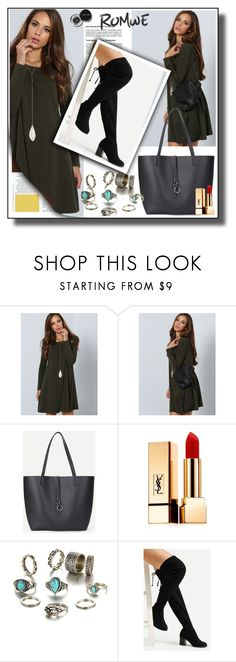 """""""Romwe5"""" by melika11 ❤ liked on Polyvore featuring Yves Saint Laurent and Bobbi Brown Cosmetics"""