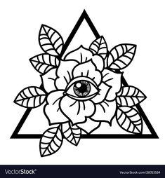 Rose and eye tattoo with sacred geometry frame Vector Image , Traditional Tattoo Vector, Traditional Tattoo Flowers, Traditional Tattoo Old School, Kritzelei Tattoo, Doodle Tattoo, Tattoo Set, Traditional Tattoo Black And White, Black And White Drawing, Old School Rose