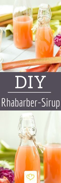 Rhubarb syrup - that sweetens you every day- Rhabarbersirup – der versüßt dir jeden Tag Seductively sweet and fruity – homemade … - Refreshing Cocktails, Summer Drinks, Fun Drinks, Smoothie Drinks, Smoothie Recipes, Smoothies, Rumchata Recipes, Rhubarb Syrup, Bon Dessert