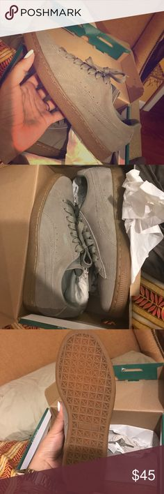 puma sneakers. nude puma sneakers. never worn. were a gift. size is 6.5 kids which is equivalent to a women's 8/8.5. suede material. fashionably chic. Puma Shoes Sneakers