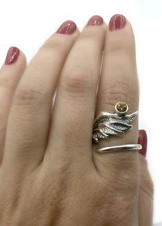 A personal favorite from my Etsy shop Angel wing ring Citrine Ring, Citrine Gemstone, Angel Wing Ring, Greek Jewelry, Silver Jewelry, Evil Eye Jewelry, Silver Wings, Eye Necklace, Pretty Rings