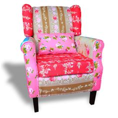 Patchwork Sessel Relaxsessel Ohrensessel Bunt Mehrfarbig Loungesessel Clubsessel
