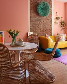 Brighten Up Your Living Room with A Warm Pink Hued Paint Color Peach Living Rooms, Blush Living Room, Living Room Decor, Room Wall Colors, Paint Colors For Living Room, Pink Walls, Pink Wall Paints, Coral Walls Bedroom, Colourful Living Room