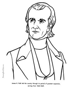 free printable president james k polk facts and coloring picture
