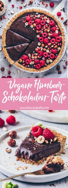 This raspberry chocolate tart recipe with vegan Nutella pudding filling without baking and crispy hazelnut shortcrust crust is creamy, delicious and easy to prepare! Topped with chocolate ganache, fre Tart Recipes, Baby Food Recipes, Hazelnut Recipes, Cookie Dough Vegan, Tarte Vegan, Vegan Tarts, Gateaux Vegan, How To Roast Hazelnuts, Sweets