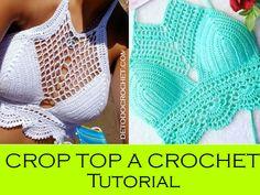 tops a crochet paso a paso ile ilgili görsel sonucu Diy Crochet Crop Top, Top Tejidos A Crochet, Top Crop Tejido En Crochet, Crochet Beach Dress, Crochet Diy, Crochet Shorts, Crochet Fabric, Crochet Clothes, Crochet Bikini