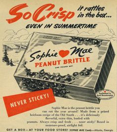 Vintage 1950s magazine ad, Sophie Mae Peanut Brittle CAndy, Family Circle, July 1953 | Photo credit: Vicki McClure Davidson, Flickr, Creativ...
