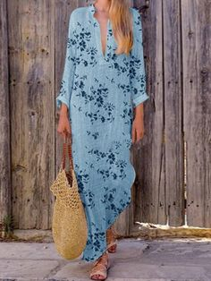 Floral Print Irregular Long Sleeve Maxi Dress For Women is high-quality, see other cheap summer dresses on NewChic. Long Sleeve Maxi, Maxi Dress With Sleeves, Floral Print Maxi Dress, Boho Dress, Moda Indiana, Cheap Summer Dresses, Vestido Casual, Casual Maxi Dresses, Types Of Sleeves