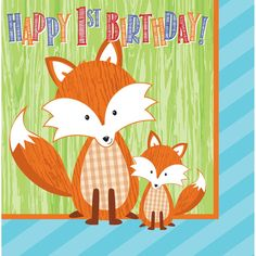 Forest Fox 2 Ply Lunch Napkins Happy 1st Birthday/Case of 192